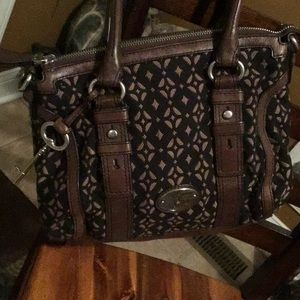 Awesome Fossil leather and fabric bag